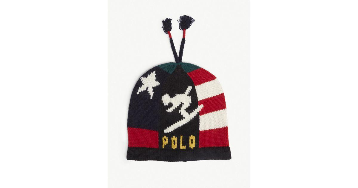 Polo Ralph Lauren Stadium Ski Wool-blend Beanie Hat in Red for Men - Lyst a90c393cf49d
