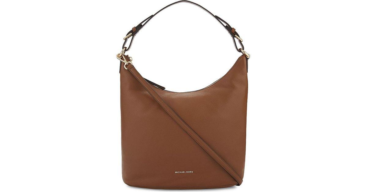 Michael Michael Kors Lupita Large Leather Hobo Bag in Brown - Lyst cdc557b230