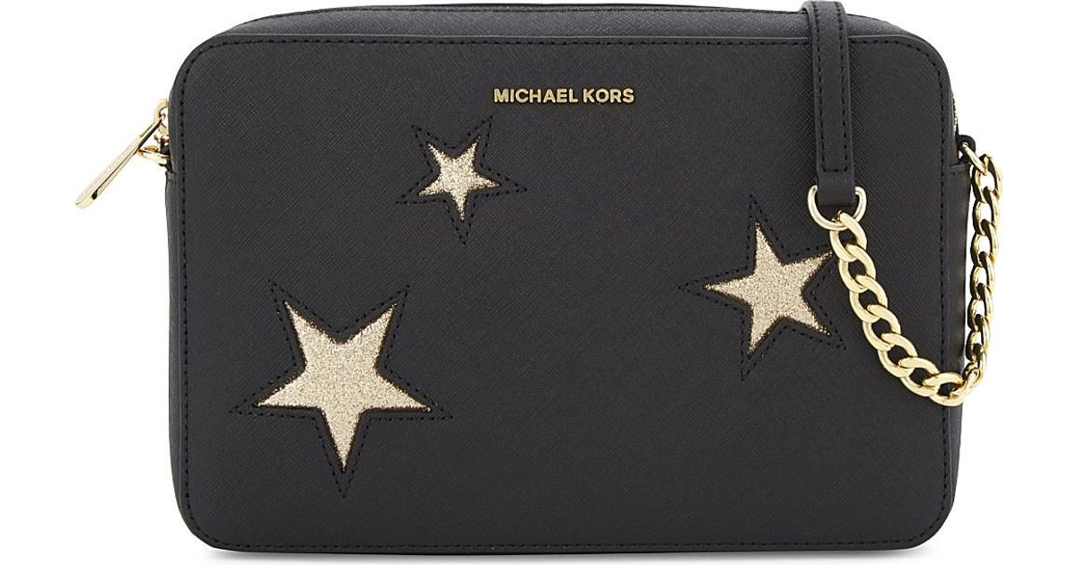 b225fda5fff6 MICHAEL Michael Kors Glitter Star Large Saffiano Leather Cross-body in  Black - Lyst