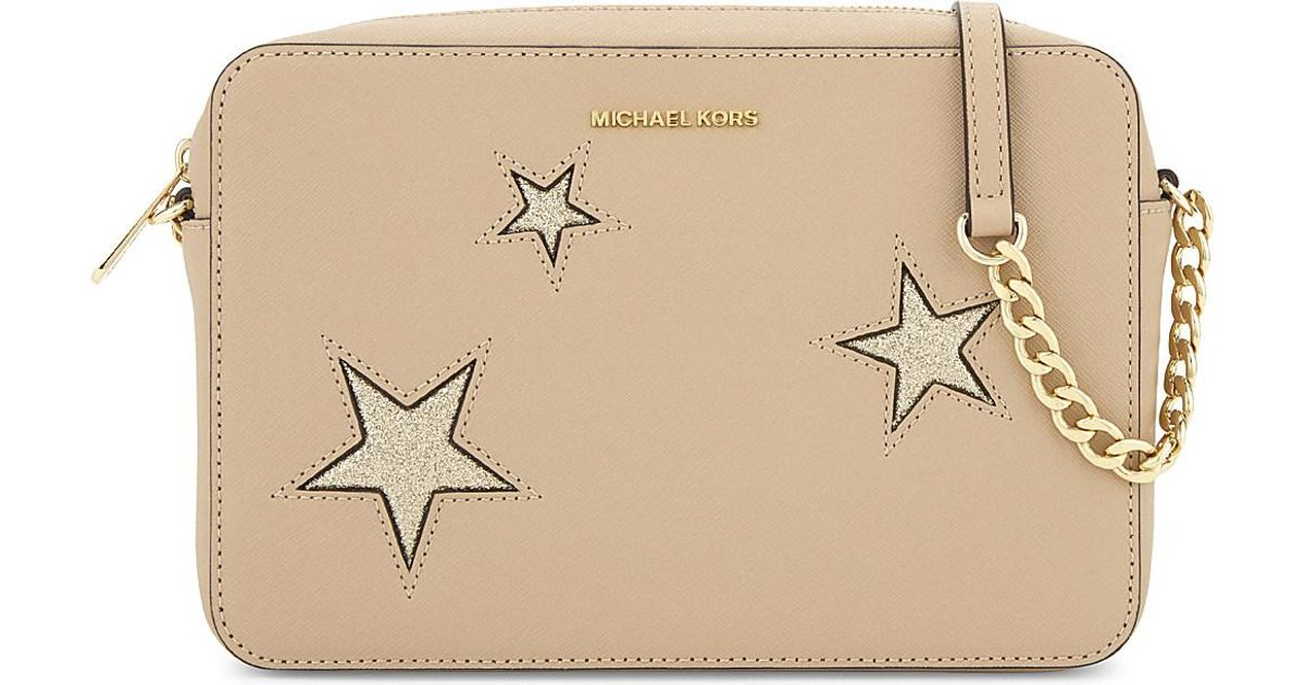 5ee774a3b5fe79 MICHAEL Michael Kors Jet Set Glitter Star Large Saffiano Leather Cross-Body  Bag in Natural - Lyst