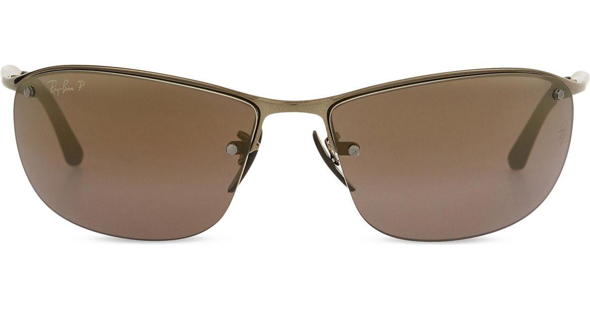 0861b9c006 Lyst - Ray-Ban Rb3542 Chromance Rectangle-frame Sunglasses in Brown for Men
