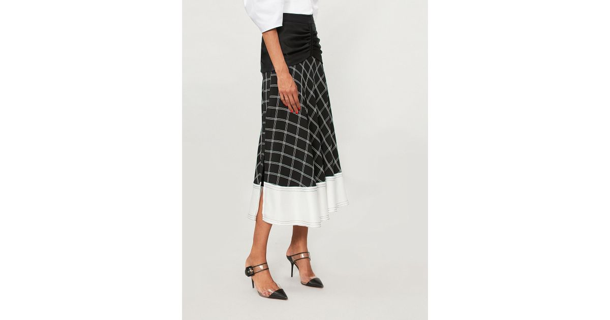 c442b1bb2 Self-Portrait Paneled Checked Matte-satin Midi Skirt in Blue - Save 30% -  Lyst