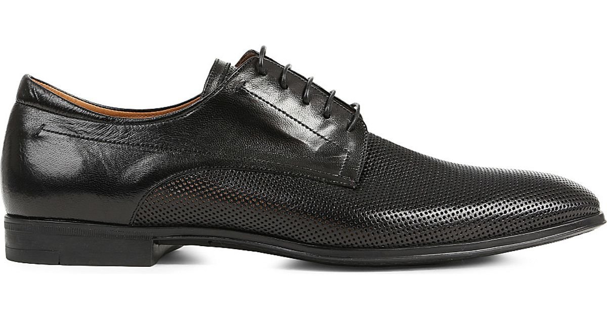 stemar perforated derby shoes in black for save 43