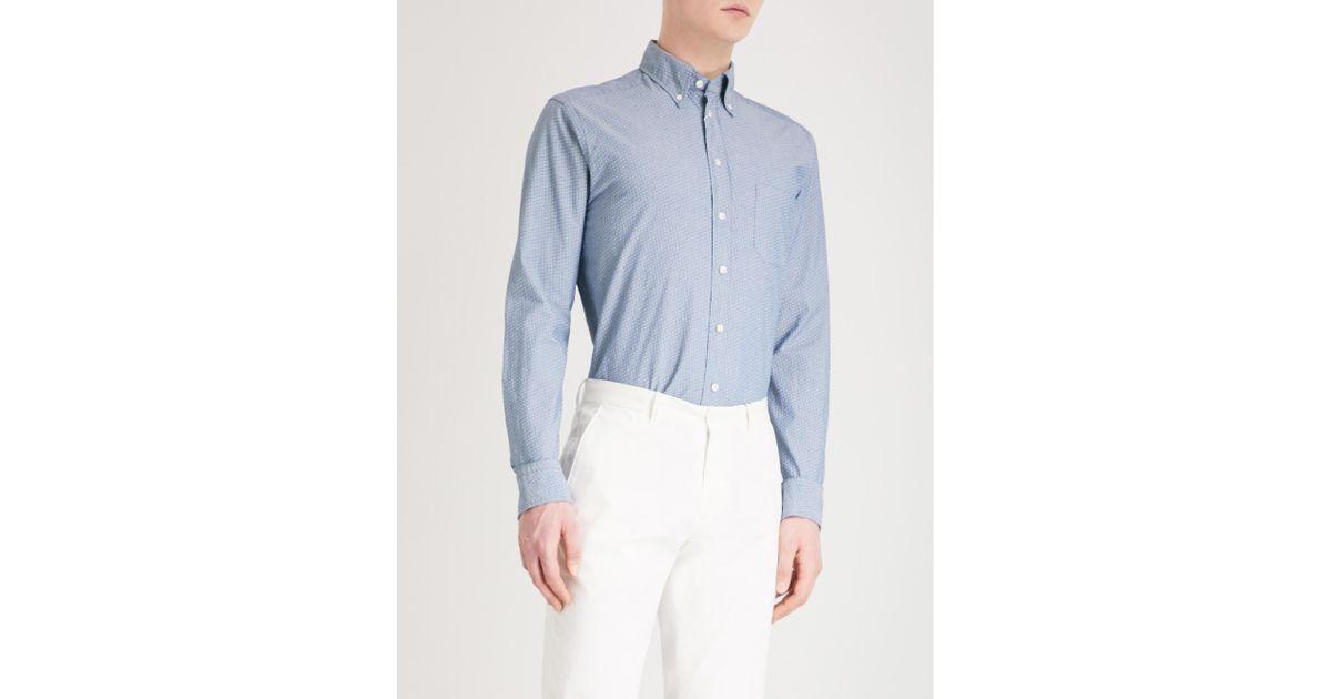 big clearance sale biggest discount good selling Eton of Sweden Blue Slim-fit Cotton Oxford Shirt for men