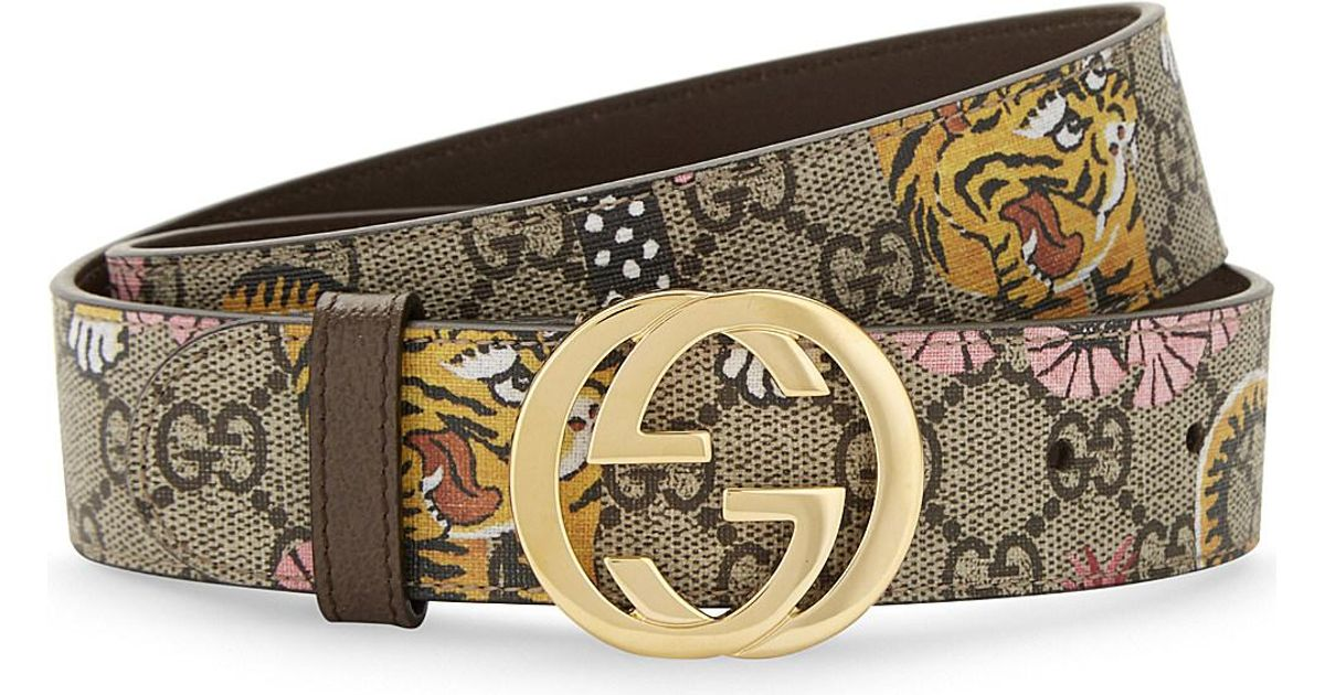 0f3769cd3 Gucci Bengal Tiger Print Leather Belt in Natural - Lyst