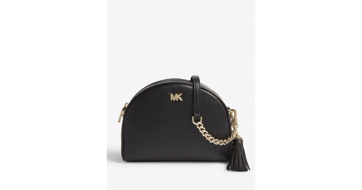cb24f0f87bcd Michael Michael Kors Half-moon Pebbled Leather Shoulder Bag in Black - Lyst