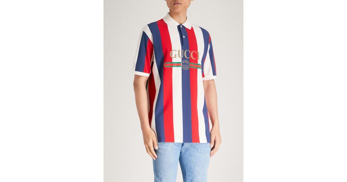 9630fe1ed Gucci Baiadera Striped Cotton-piqué Polo Shirt in Red for Men - Lyst