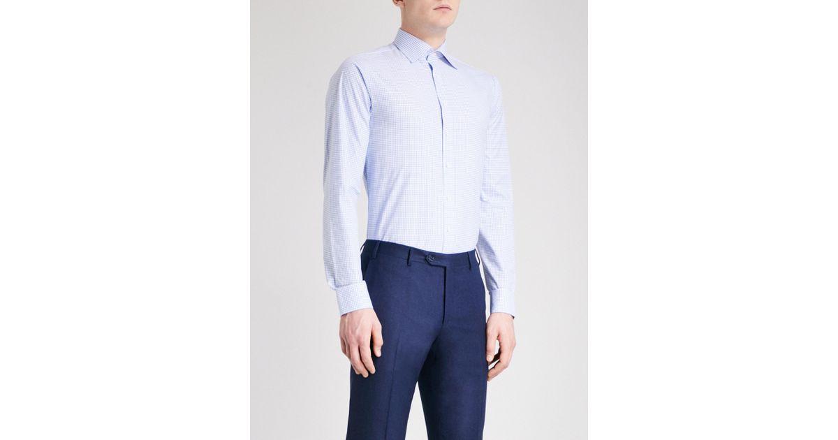 Thomas pink greenwood checked super slim fit cotton shirt for Super slim dress shirts