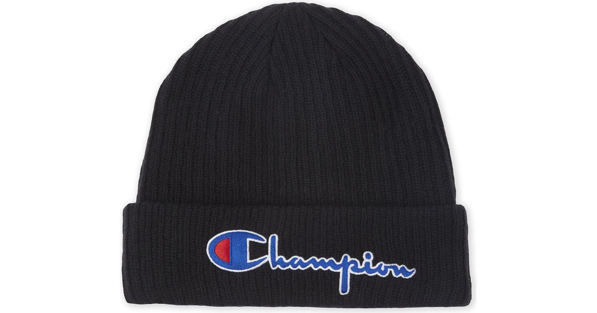 Lyst - Champion Signature Logo Merino Wool Beanie in Black for Men 0f7e8f9c7a7