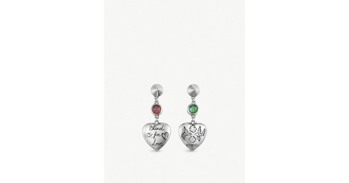 c898d9814 Lyst - Gucci Blind For Love Earrings In Silver in Metallic - Save 8%