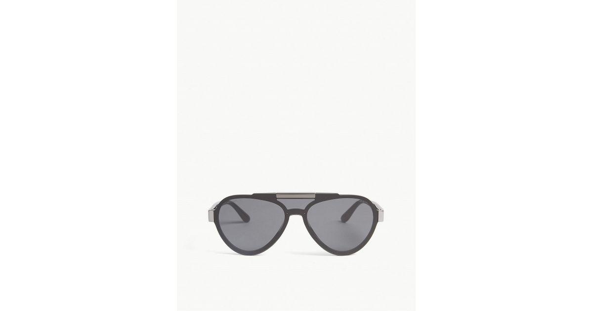 c225249fae Lyst - Prada Womens Black Pr01us Pilot-frame Sunglasses in Black