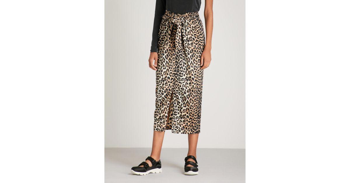 0a009f72452aa9 Ganni Black And Brown Calla Leopard-print Stretch-silk Midi Skirt in Black  - Lyst
