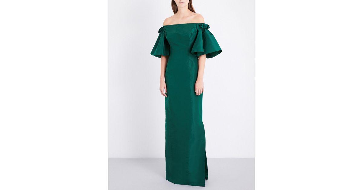 ee364286a33 Lyst - Oscar de la Renta Off-the-shoulder Silk-satin Gown in Green