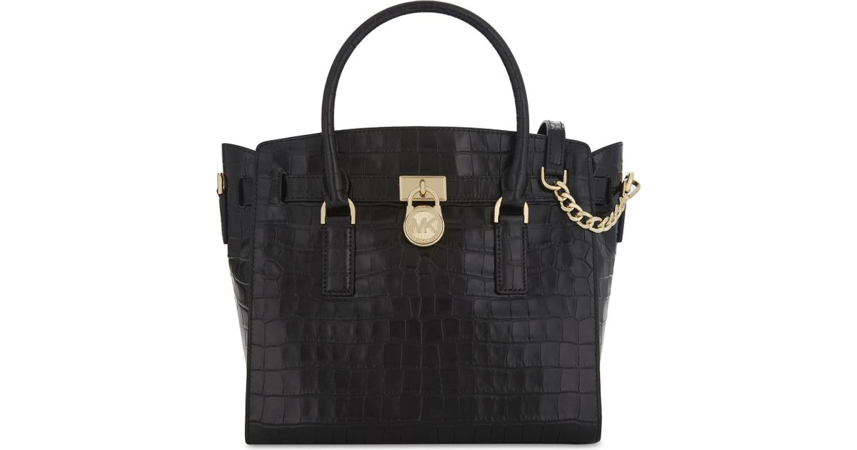 7e68acdefcf3 Lyst - MICHAEL Michael Kors Hamilton Croc-embossed Leather Tote Bag in Black