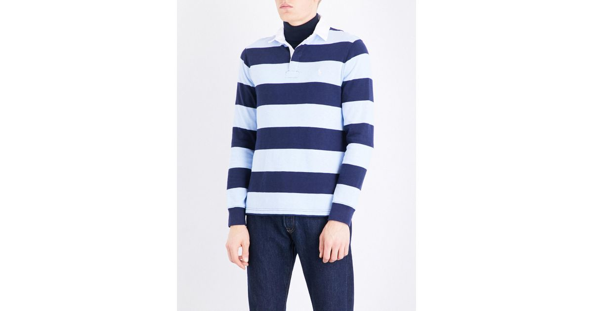 e63d3ce8 Lyst - Polo Ralph Lauren Striped Custom Slim-fit Cotton-jersey Polo Shirt  in Blue for Men