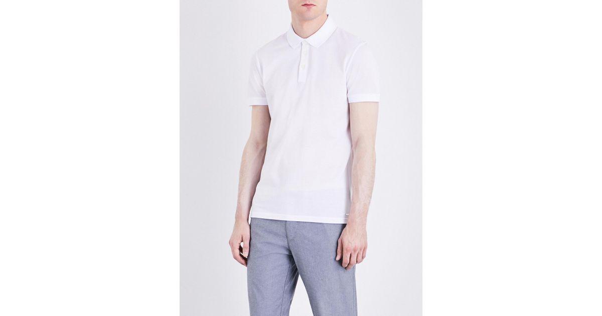 7385d1a8e8 Lyst - BOSS Hugo Boss Slim-fit Cotton-piqué Polo Shirt in White for Men