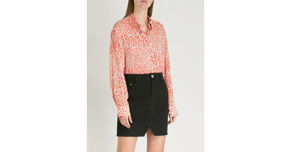 8cf342b174d06 Lyst - Maje Capona Leopard-print Woven Shirt in Pink