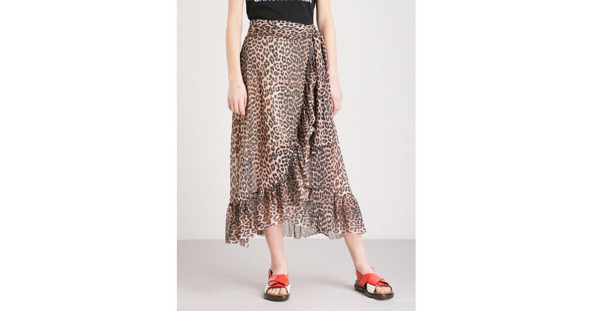 a716e0c725d658 Ganni Tilden Chiffon Wrap Skirt in Brown - Lyst