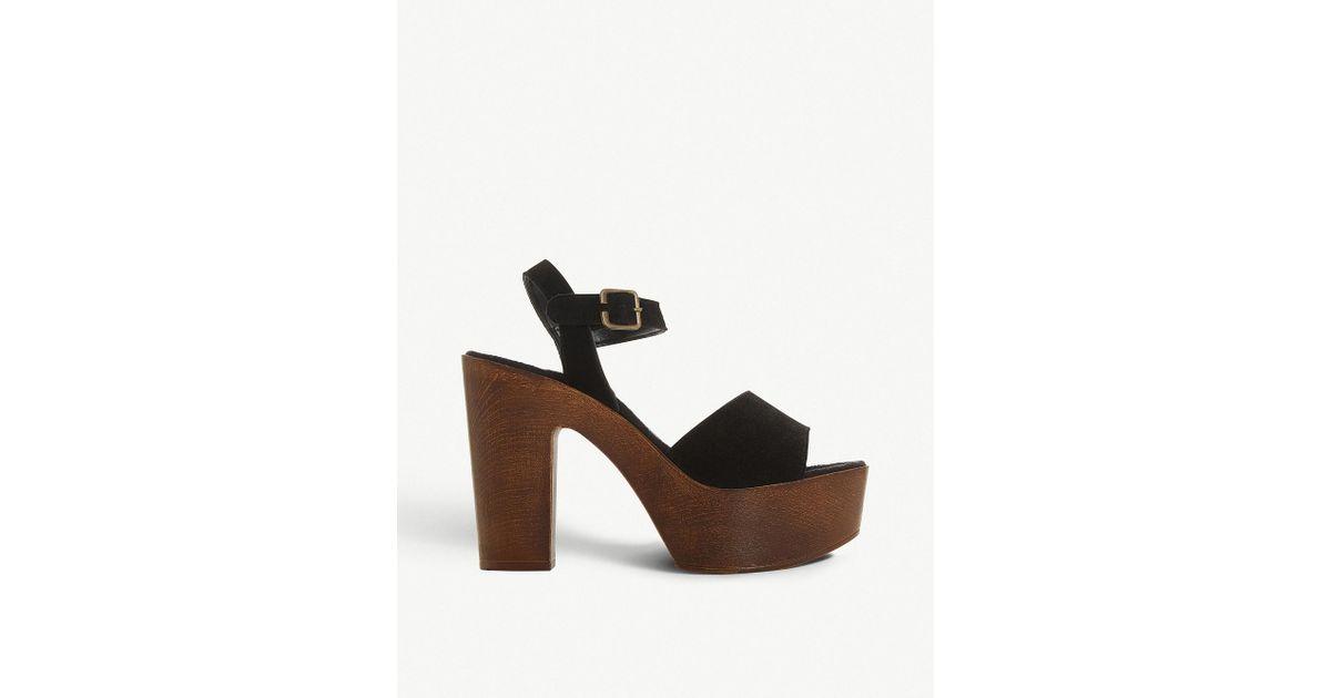 714377adde30 Steve Madden Lulla Block Heel Suede Sandals in Black - Lyst