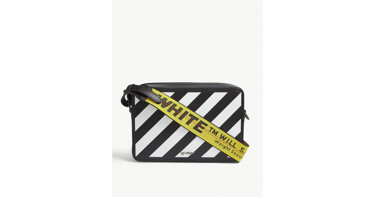c65994c81d63 Off-White c o Virgil Abloh Diagonal Stripe Leather Camera And Belt Bag in  Black - Lyst