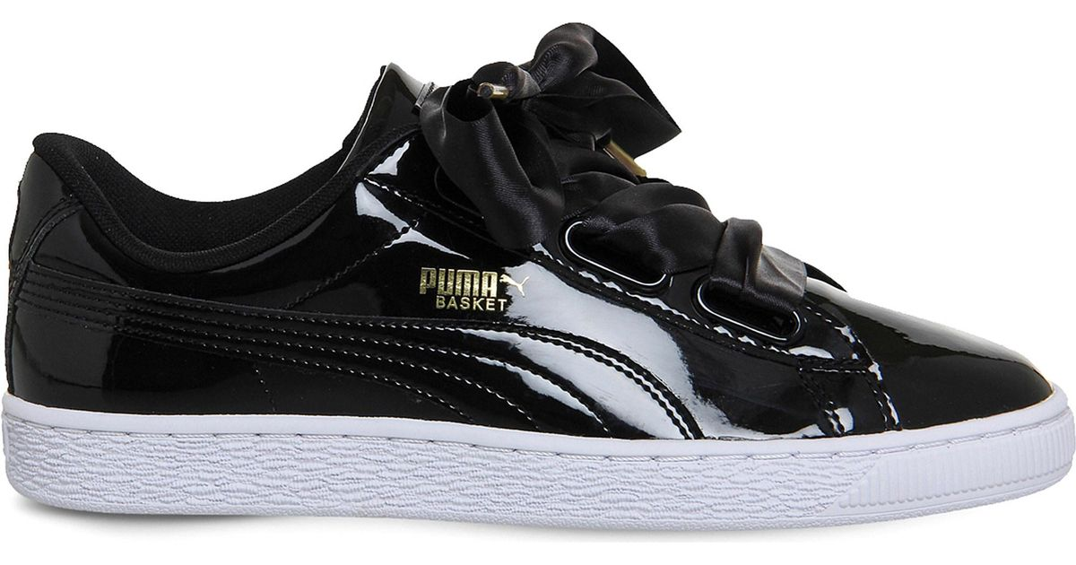 d54d74a00ba Lyst - PUMA Basket Heart Patent-leather Trainers in Black