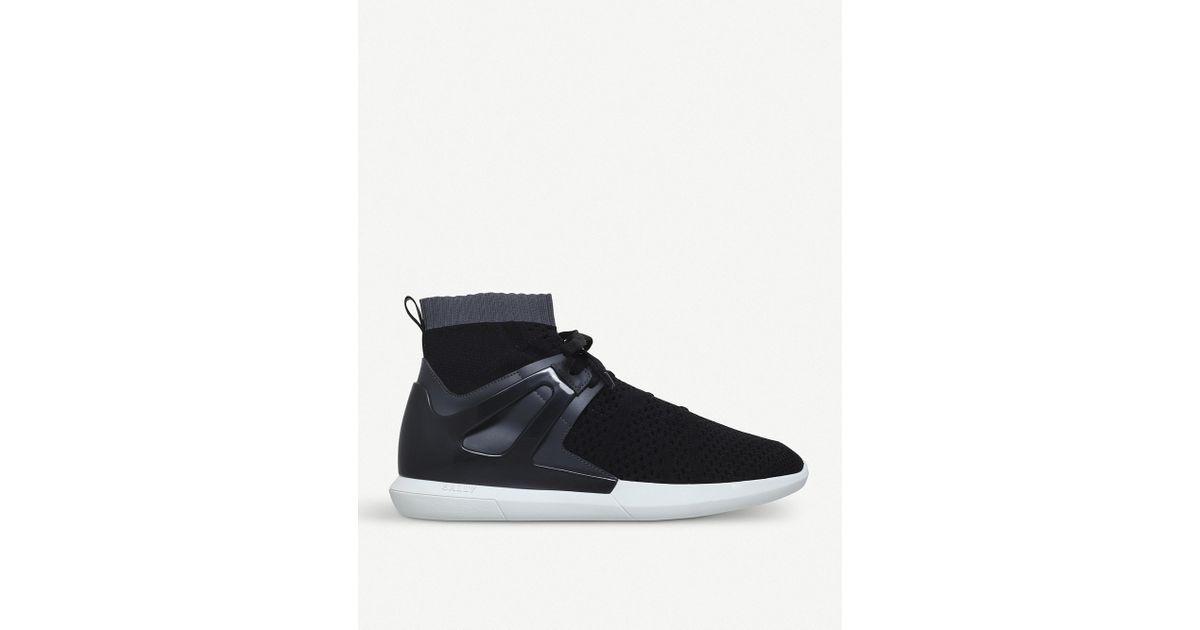 Avallo Black, Mens fabric sock trainer in black Bally