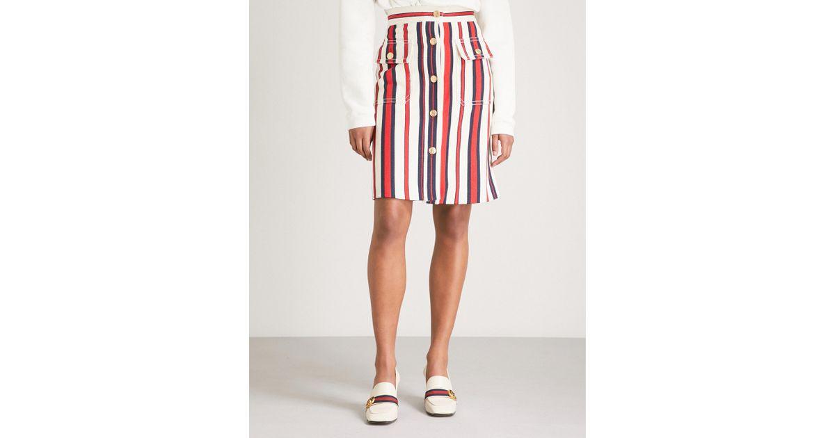 de40ba0be10 Gucci - Red Striped Denim Skirt - Lyst