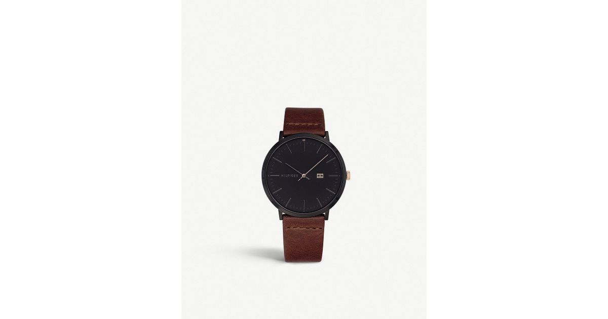 21e76231 Tommy Hilfiger 1791461 James Ion-plated Black Steel And Leather Watch in  Black for Men - Lyst