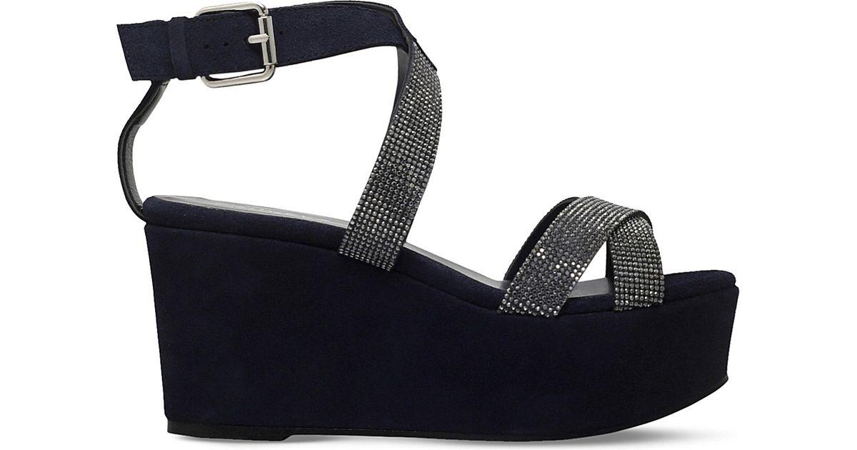 49d9783f22d Lyst - Carvela Kurt Geiger Klaire Suede Wedge Sandals in Black