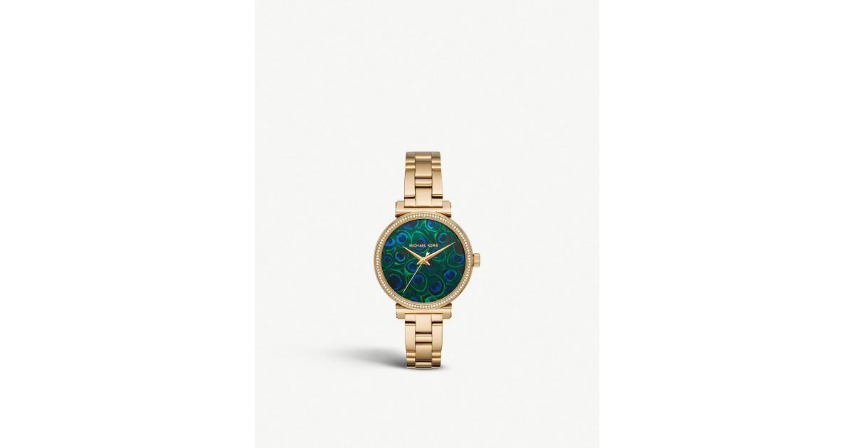 1954e4ae1d4e Michael Kors Mk3946 Sofie Gold-plated Stainless Steel And Peacock  Feather-printed Watch in Metallic - Lyst