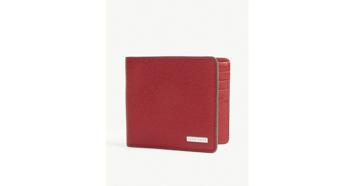 1917505e75 BOSS Signature Leather Wallet in Red for Men - Lyst