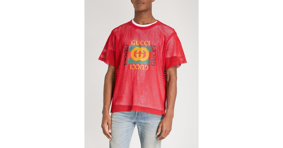 758e3a908 Gucci Logo-print Cotton-mesh Top in Red for Men - Lyst