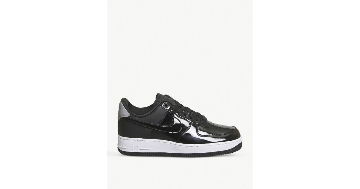 info for 9b065 afb45 Lyst - Nike Air Force 1 07 Patent Leather Trainers in Black