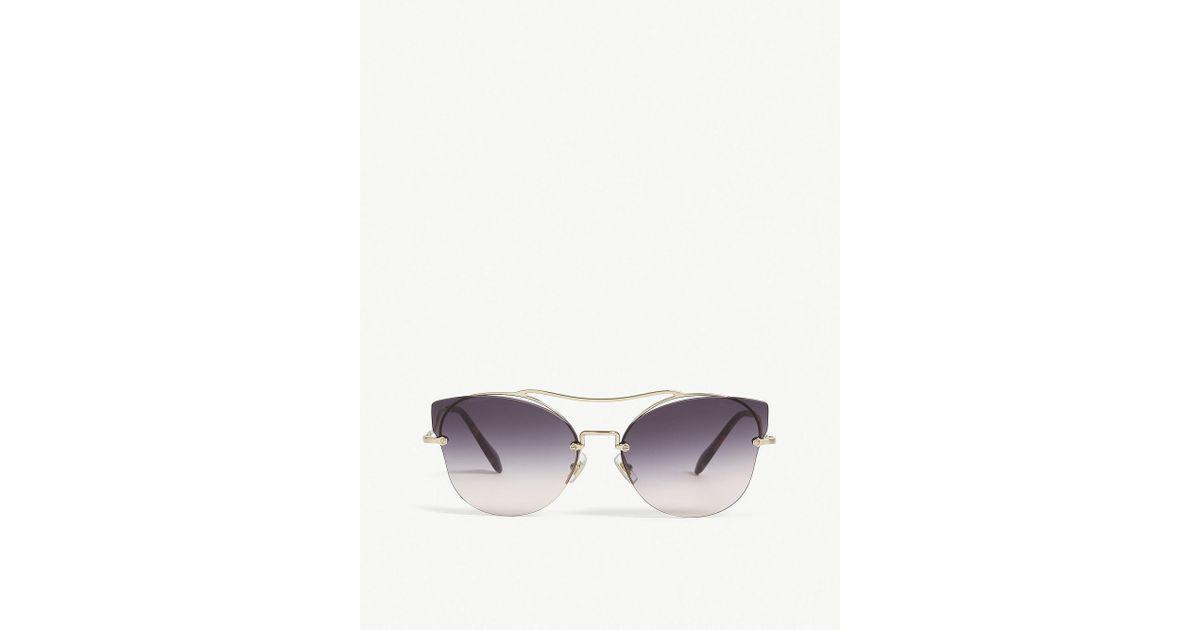 59715728ace7 Lyst - Miu Miu Mu52ss Butterfly-frame Sunglasses in Metallic