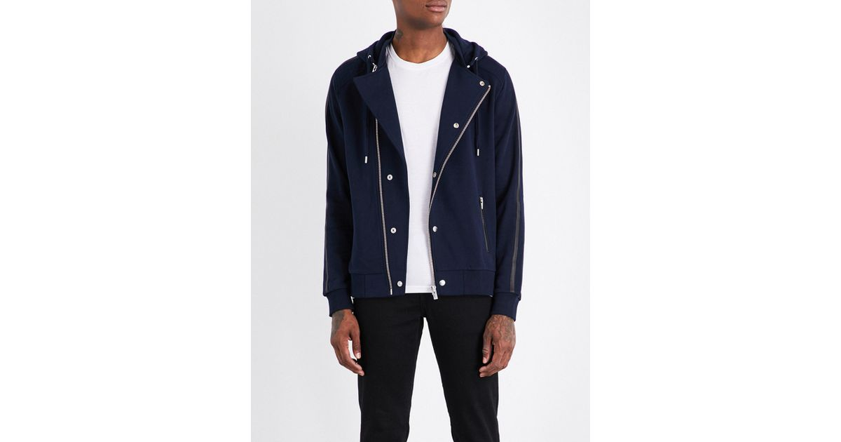 Lyst - The Kooples Sport Leather-trimmed Zip-up Cotton Hoody in Blue for Men