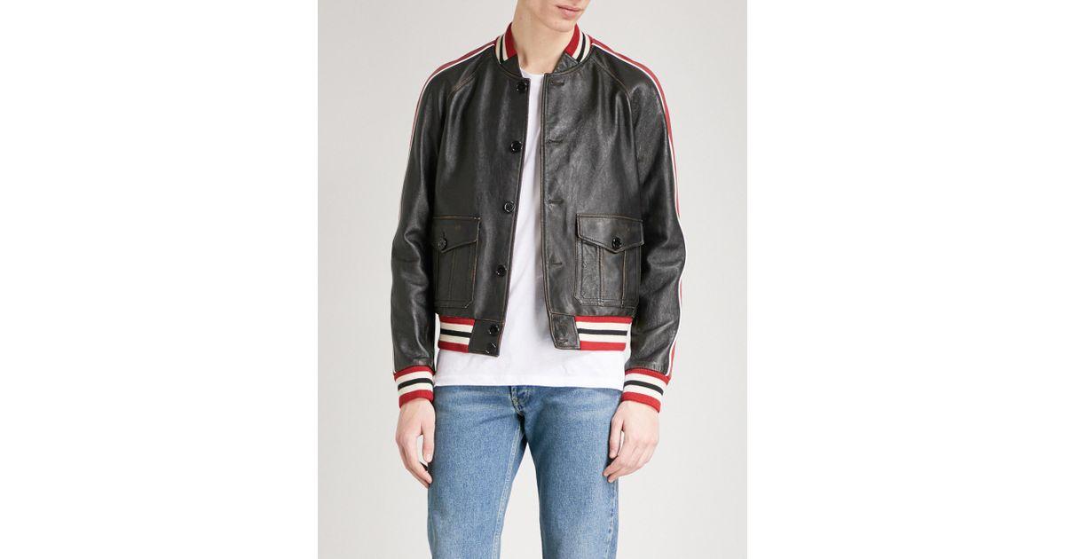 e68503833d9 Lyst - Saint Laurent Striped-trims Leather Varsity Jacket in Black for Men