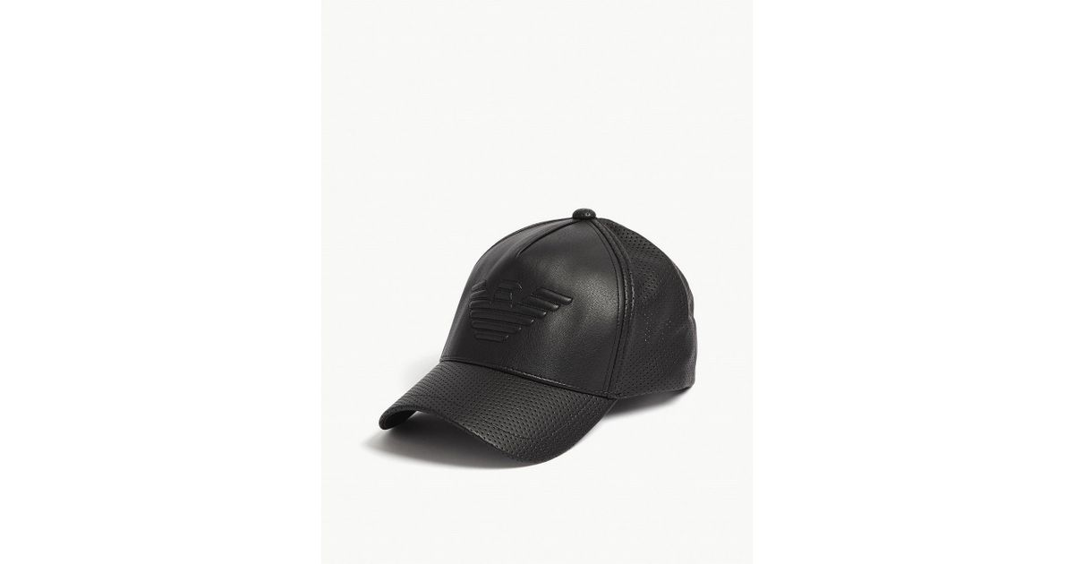 918ee44887d Lyst - Emporio Armani Eagle Faux-leather Snapback Cap in Black for Men