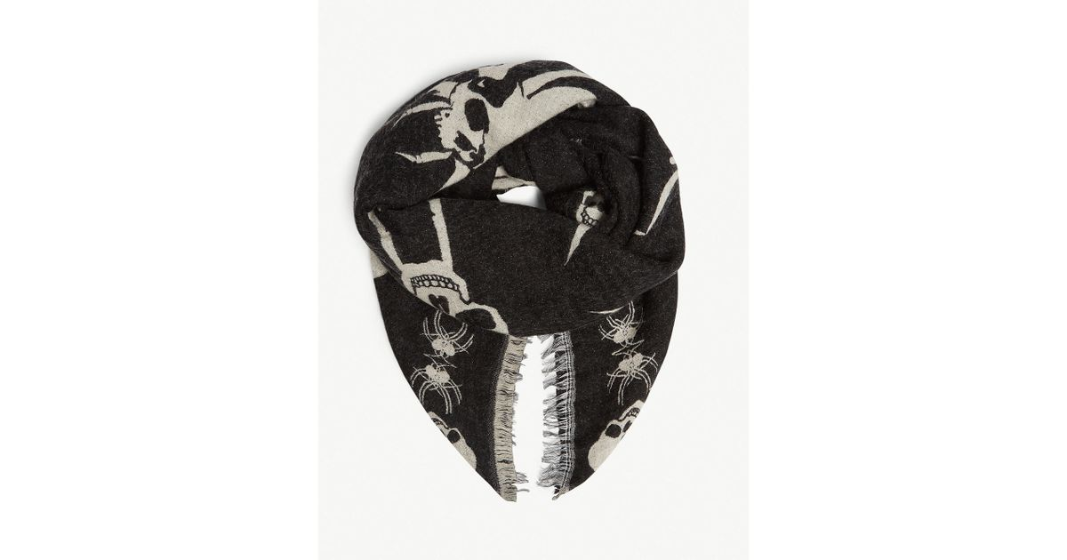 a21a9d074a The Kooples Skull And Spider Scarf in Black for Men - Lyst