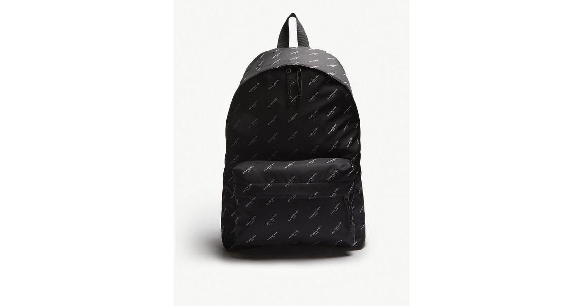 ... Lyst - Balenciaga All-over Logo Nylon Backpack in Black lowest price  f2db6 f04dd ... b9066bf95edef
