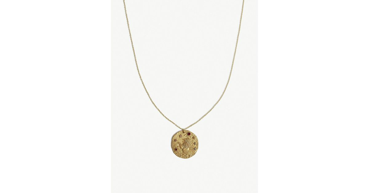 Lyst Maje Lion Leo Zodiac Brass Coin Necklace In Metallic