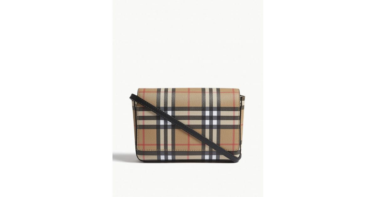 129a92a648 Burberry Hampshire Vintage Check Leather Cross-body Bag in Black - Lyst