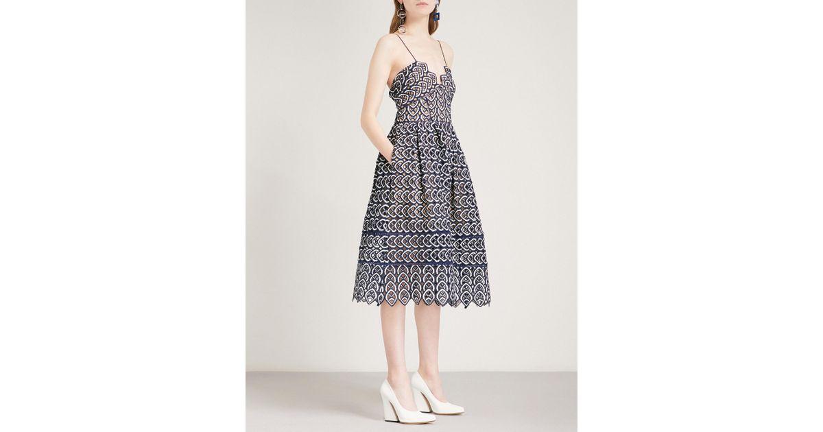 ae7aa8290984 Self-Portrait Sweetheart Azaelea Crochet-lace Midi Dress in White - Lyst