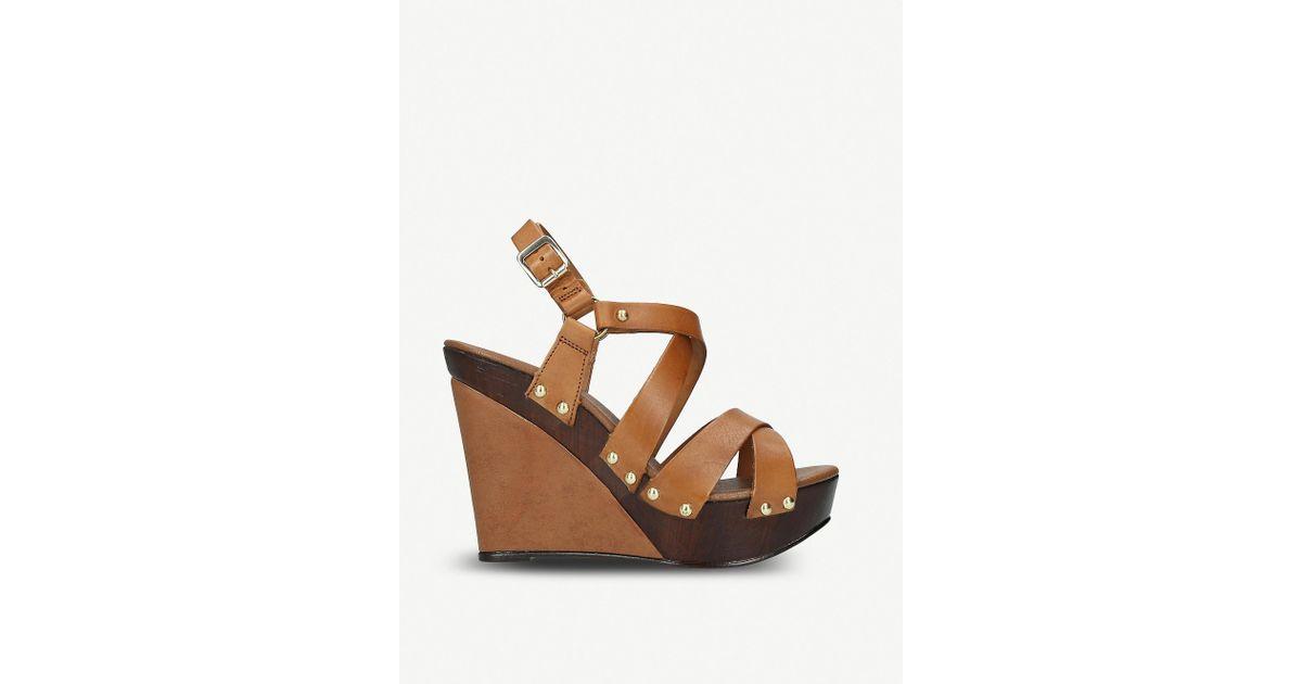 5789134901 Carvela Kurt Geiger Kassandra Leather Wedge Sandals in Brown - Lyst