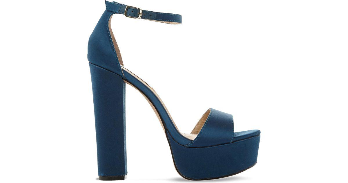 ce1ba5eec91 Steve Madden Gonzo Satin Platform Sandals in Blue - Lyst