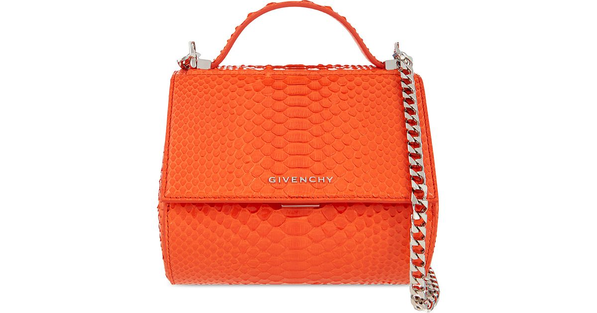 c0bde1105973 Lyst - Givenchy Pandora Python-leather Box Bag in Orange