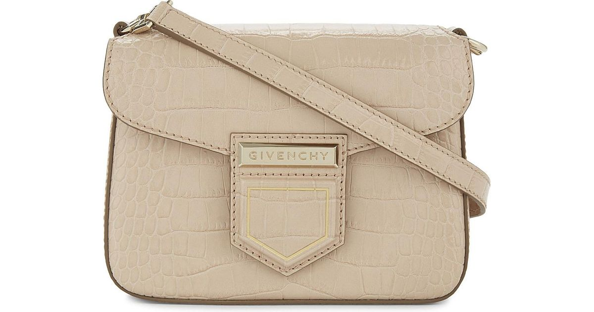 Lyst - Givenchy Nobile Small Leather Croc-Embossed Shoulder Bag in Natural 891ac073c6e56
