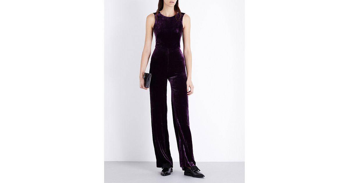b42b5800dd Lyst - Saloni Jules Velvet Jumpsuit in Black