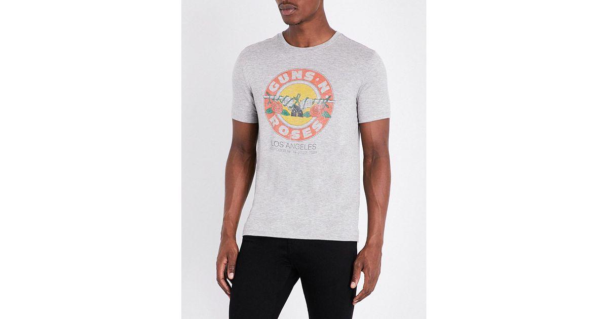 John Varvatos Guns 39 N Roses Jersey T Shirt In Gray For Men