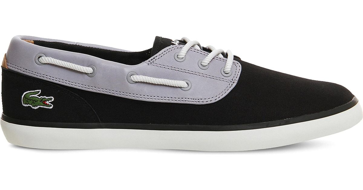 08d2f815f935 Lyst - Lacoste Jouer Deck Suede And Canvas Boat Shoes in Gray for Men