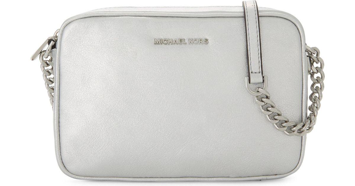 3fe08c5a419ed MICHAEL Michael Kors Ginny Metallic Leather Cross-body Camera Bag in  Metallic - Lyst